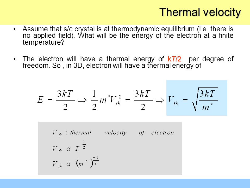 Assume that s/c crystal is at thermodynamic equilibrium (i.e. there is no applied field). What will be the energy of the electron at a finite temperat