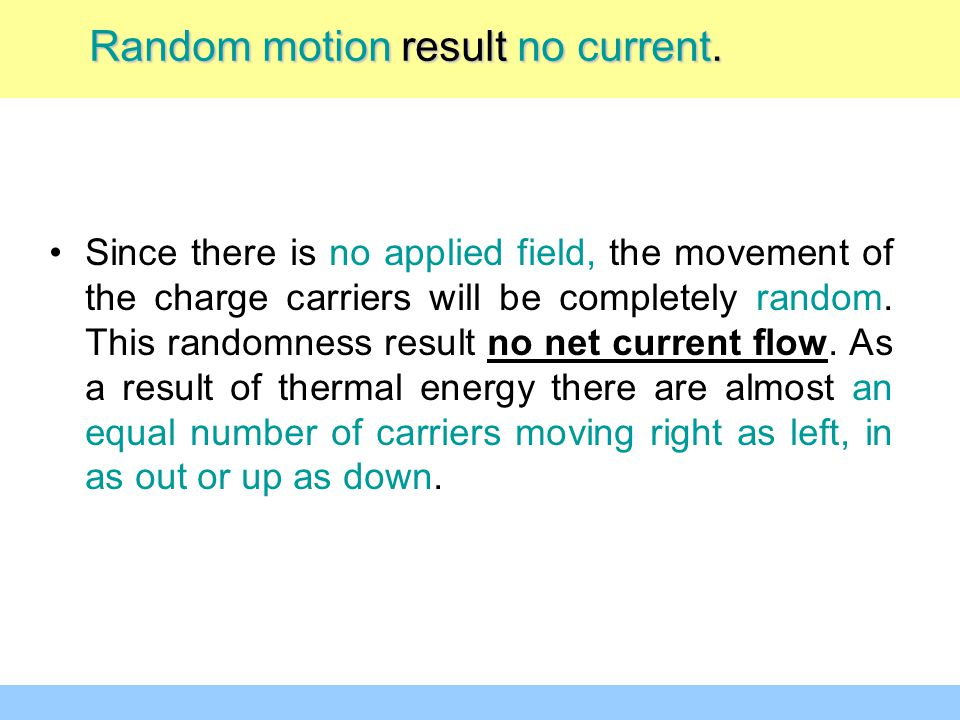 Since there is no applied field, the movement of the charge carriers will be completely random. This randomness result no net current flow. As a resul
