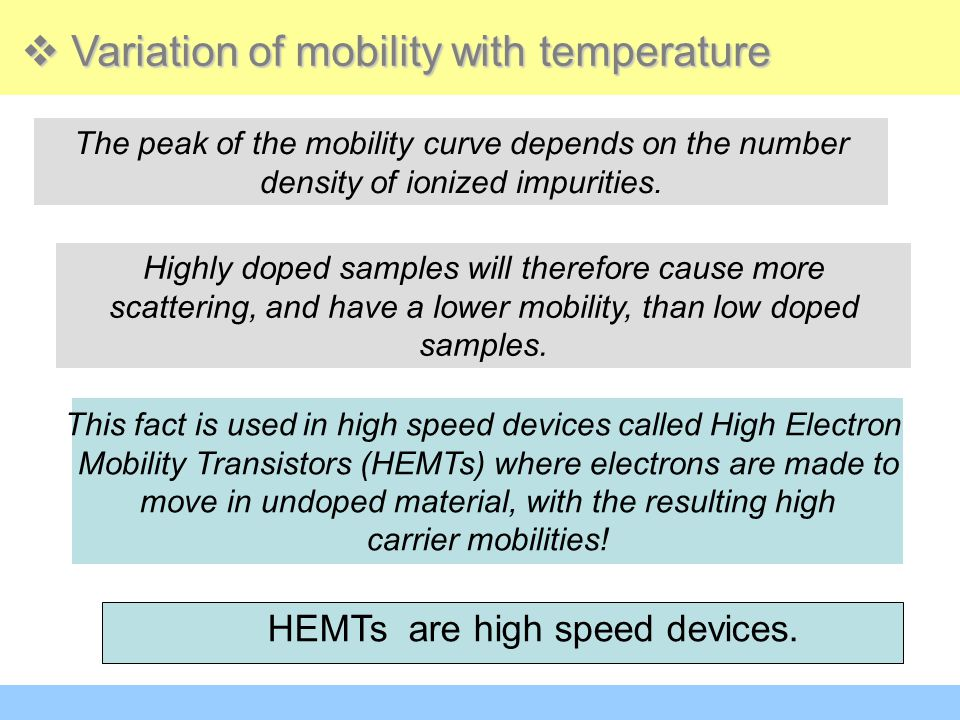 This fact is used in high speed devices called High Electron Mobility Transistors (HEMTs) where electrons are made to move in undoped material, with t