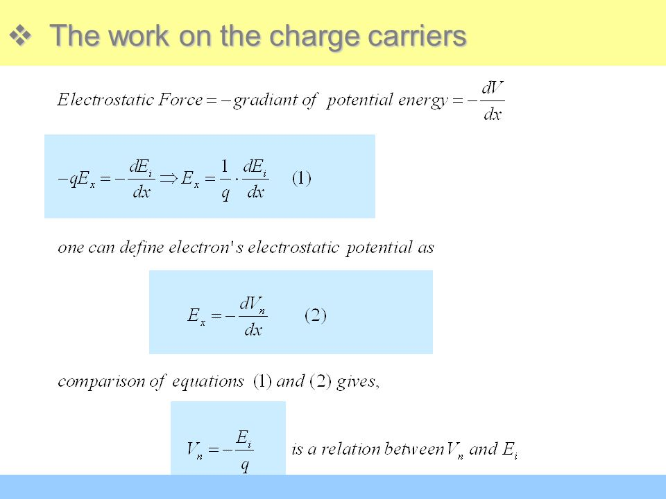  The work on the charge carriers