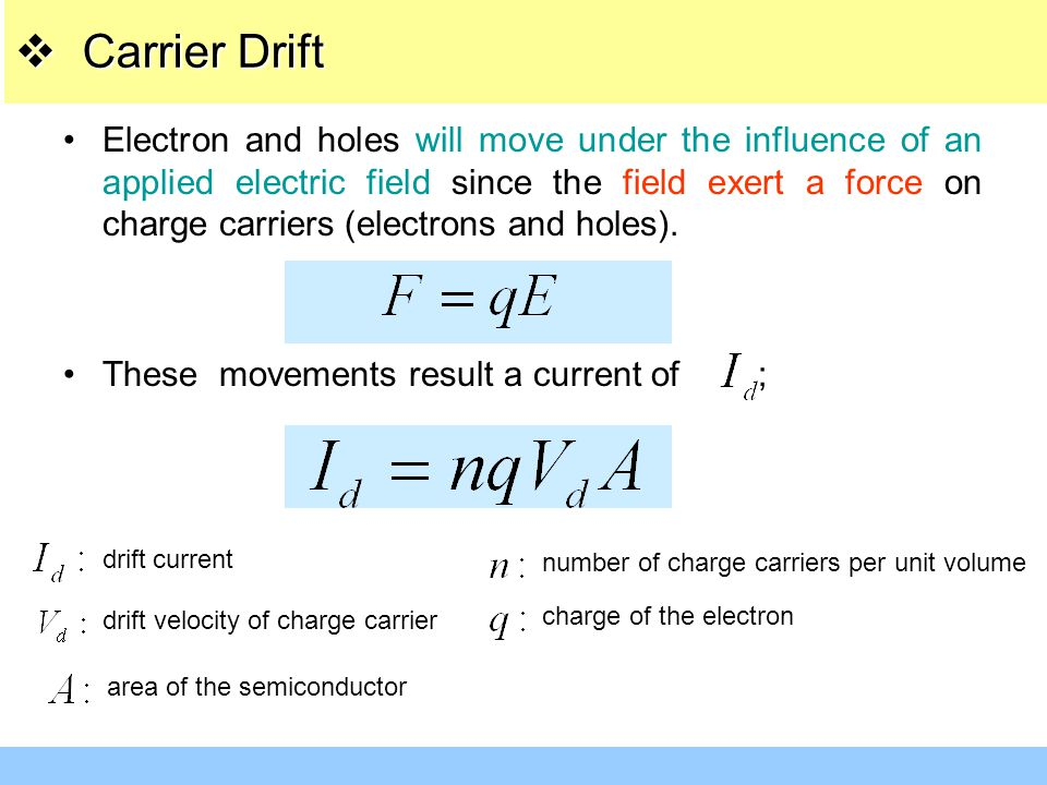 Electron and holes will move under the influence of an applied electric field since the field exert a force on charge carriers (electrons and holes).