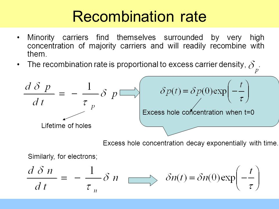 Recombination rate Minority carriers find themselves surrounded by very high concentration of majority carriers and will readily recombine with them.