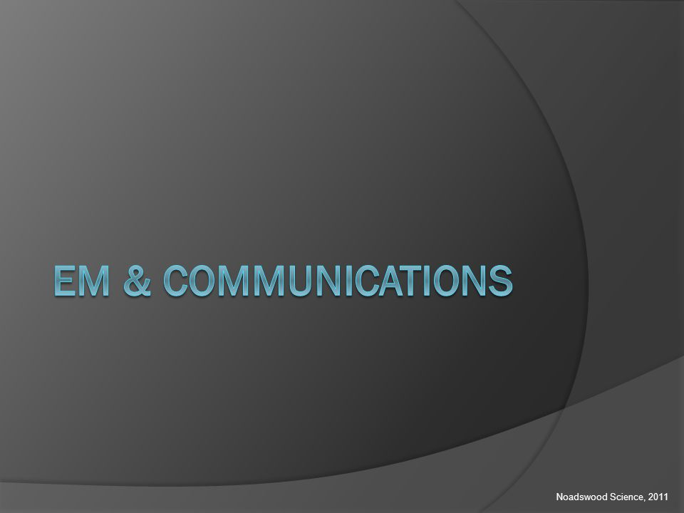 EM & Communications  To understand how EM waves are used in communications Monday, August 25, 2014