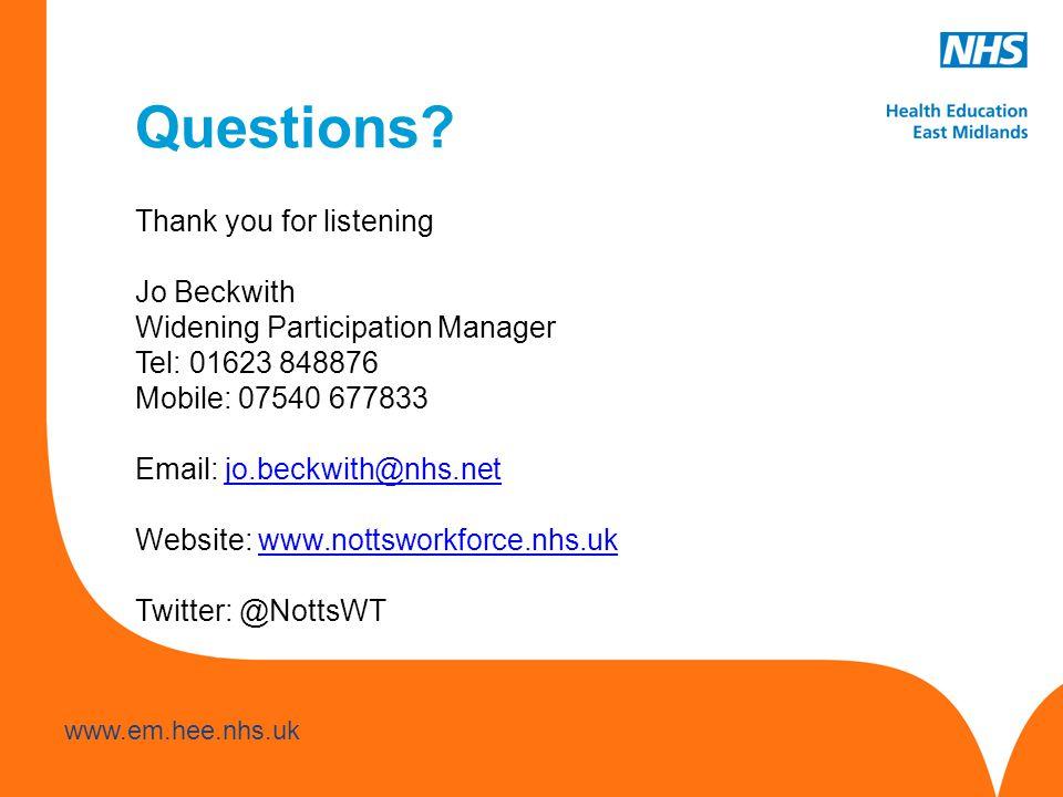 www.hee.nhs.uk www.em.hee.nhs.uk Questions.
