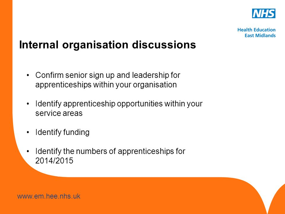www.hee.nhs.uk www.em.hee.nhs.uk Internal organisation discussions Confirm senior sign up and leadership for apprenticeships within your organisation Identify apprenticeship opportunities within your service areas Identify funding Identify the numbers of apprenticeships for 2014/2015