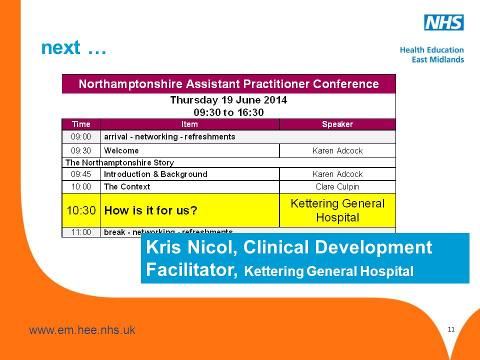 next … 11 Kris Nicol, Clinical Development Facilitator, Kettering General Hospital