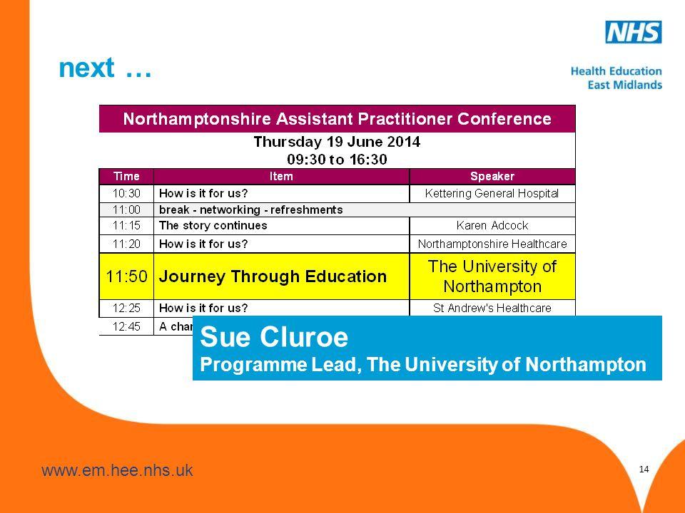www.hee.nhs.uk www.em.hee.nhs.uk next … 14 Sue Cluroe Programme Lead, The University of Northampton