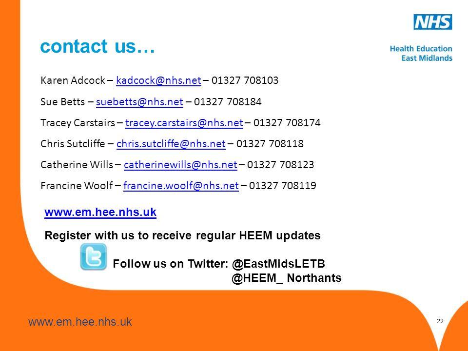 www.hee.nhs.uk www.em.hee.nhs.uk Register with us to receive regular HEEM updates Follow us on Twitter: @EastMidsLETB @HEEM_ Northants 22 Karen Adcock