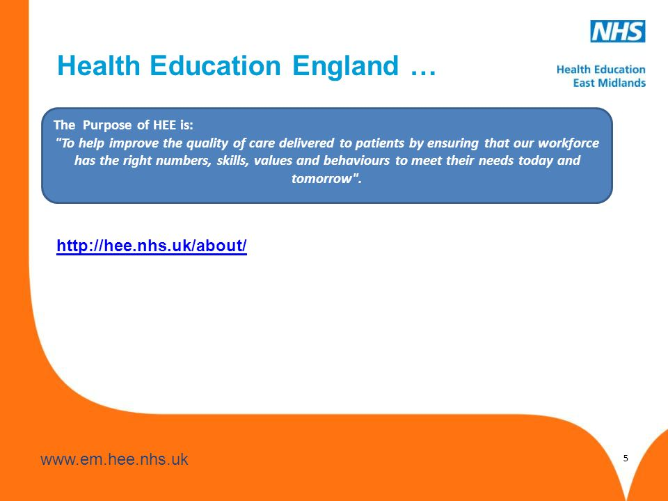www.hee.nhs.uk www.em.hee.nhs.uk Health Education England … http://hee.nhs.uk/about/ 5 The Purpose of HEE is: To help improve the quality of care delivered to patients by ensuring that our workforce has the right numbers, skills, values and behaviours to meet their needs today and tomorrow .