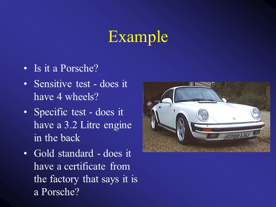 Example Is it a Porsche.Sensitive test - does it have 4 wheels.