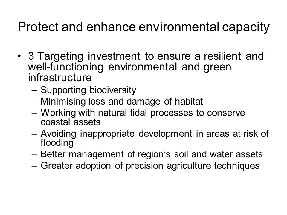 Protect and enhance environmental capacity 3 Targeting investment to ensure a resilient and well-functioning environmental and green infrastructure –Supporting biodiversity –Minimising loss and damage of habitat –Working with natural tidal processes to conserve coastal assets –Avoiding inappropriate development in areas at risk of flooding –Better management of region's soil and water assets –Greater adoption of precision agriculture techniques