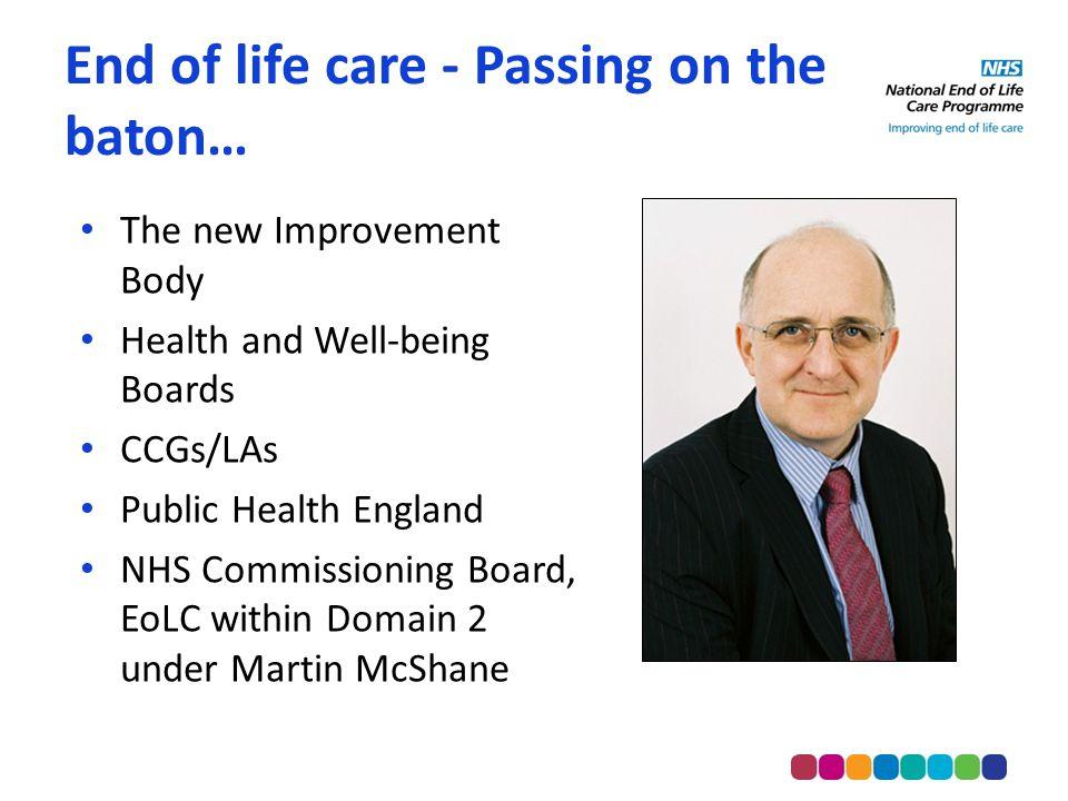 End of life care - Passing on the baton… The new Improvement Body Health and Well-being Boards CCGs/LAs Public Health England NHS Commissioning Board, EoLC within Domain 2 under Martin McShane