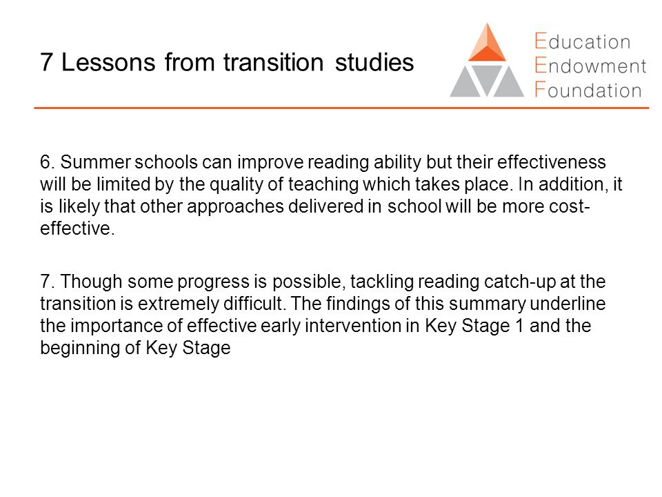 7 Lessons from transition studies 6.