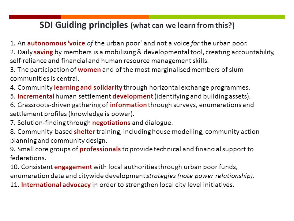 SDI Guiding principles (what can we learn from this ) 1.