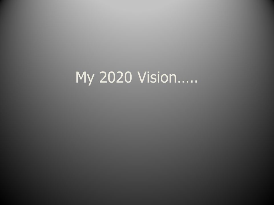 My 2020 Vision…..