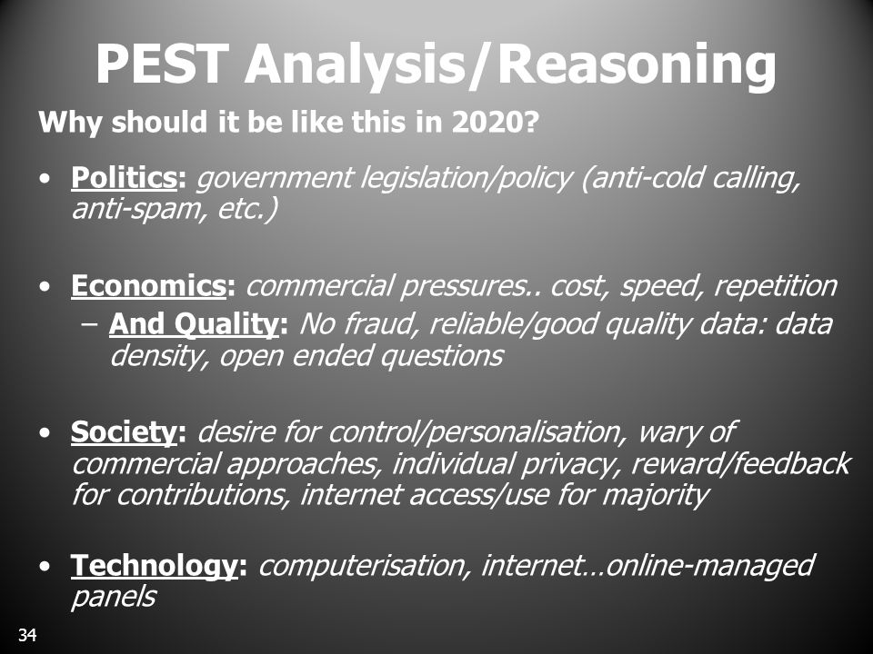 PEST Analysis/Reasoning Why should it be like this in 2020.