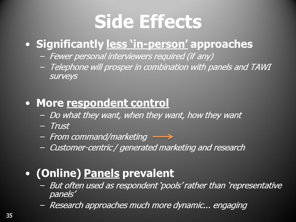 Side Effects Significantly less 'in-person' approaches –Fewer personal interviewers required (if any) –Telephone will prosper in combination with panels and TAWI surveys More respondent control –Do what they want, when they want, how they want –Trust –From command/marketing –Customer-centric / generated marketing and research (Online) Panels prevalent –But often used as respondent 'pools' rather than 'representative panels' –Research approaches much more dynamic...