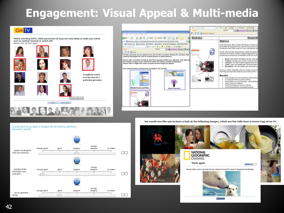 Engagement: Visual Appeal & Multi-media Graphical/sliding scales 42