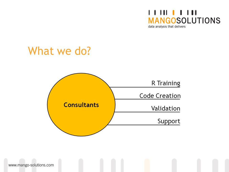 What we do? R Training Code Creation Validation Support Consultants