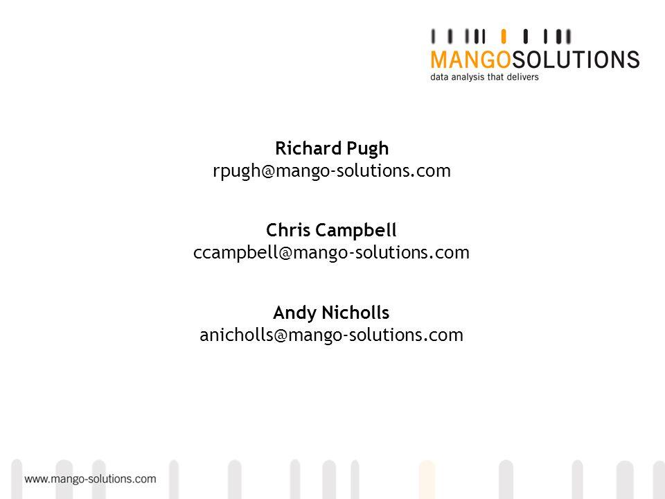 Andy Nicholls anicholls@mango-solutions.com Chris Campbell ccampbell@mango-solutions.com Richard Pugh rpugh@mango-solutions.com
