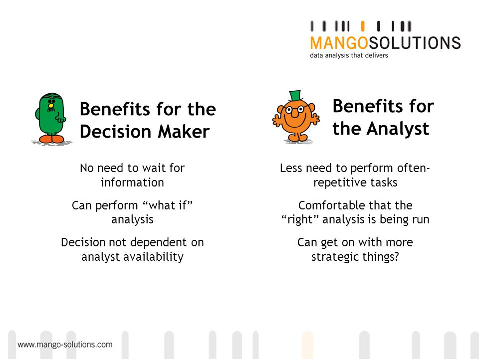 "Benefits for the Analyst Benefits for the Decision Maker No need to wait for information Can perform ""what if"" analysis Decision not dependent on anal"