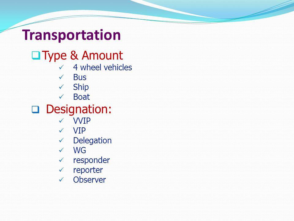 Transportation  Type & Amount 4 wheel vehicles Bus Ship Boat  Designation: VVIP VIP Delegation WG responder reporter Observer