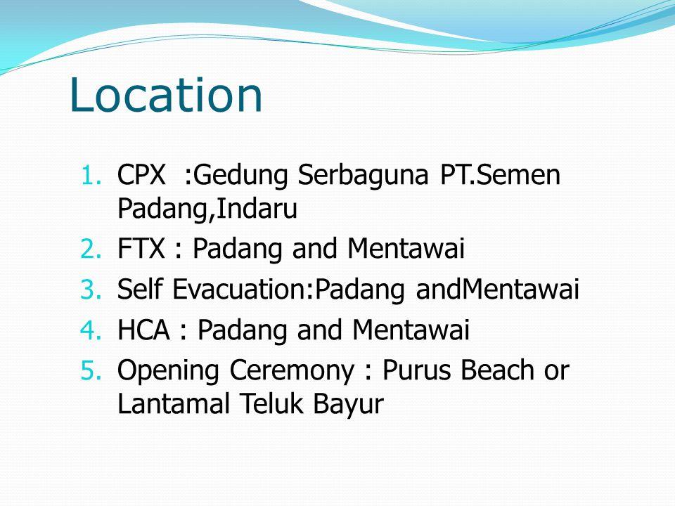 Location 1. CPX :Gedung Serbaguna PT.Semen Padang,Indaru 2. FTX : Padang and Mentawai 3. Self Evacuation:Padang andMentawai 4. HCA : Padang and Mentaw