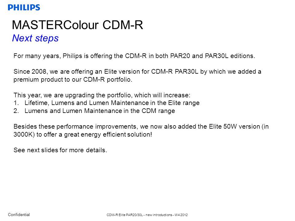 Confidential CDM-R Elite PAR20/30L - new introductions - W4 2012 CDM-R PAR20/PAR30L family What will be new.