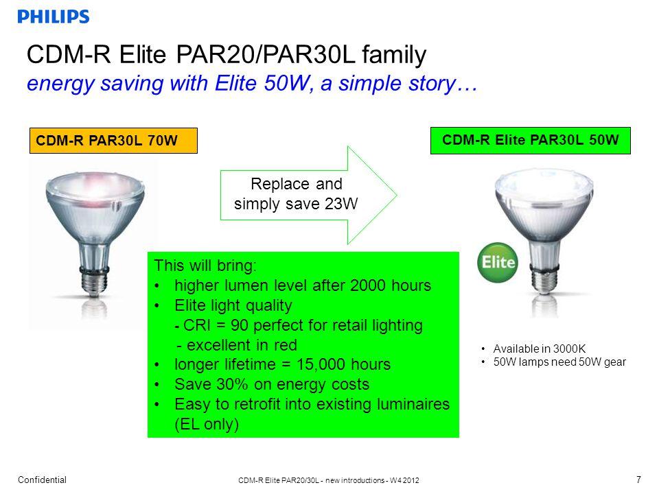 Confidential CDM-R Elite PAR20/30L - new introductions - W4 2012 The energy saving 50W Elite system provides: higher CRI, longer life, better maintenance.
