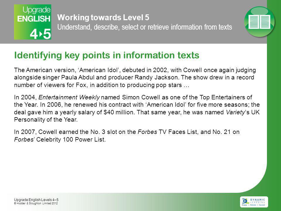 Working towards Level 5 Understand, describe, select or retrieve information from texts Identifying key points in information texts The American version, 'American Idol', debuted in 2002, with Cowell once again judging alongside singer Paula Abdul and producer Randy Jackson.