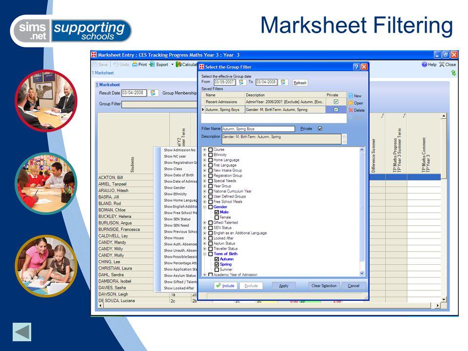 Marksheet Filtering