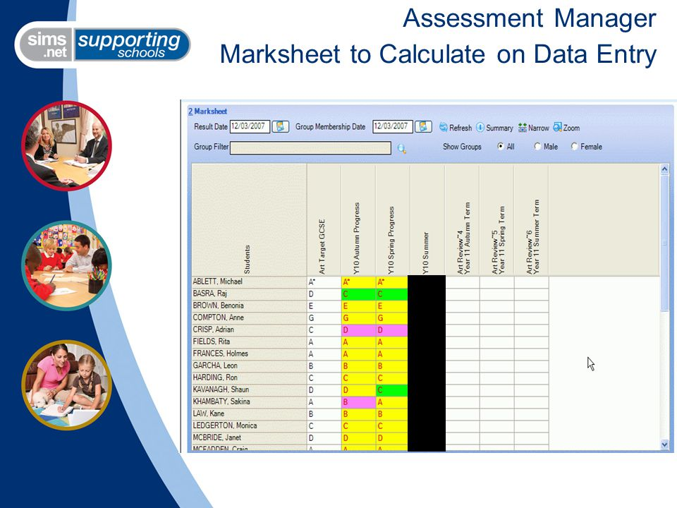 Assessment Manager Marksheet to Calculate on Data Entry
