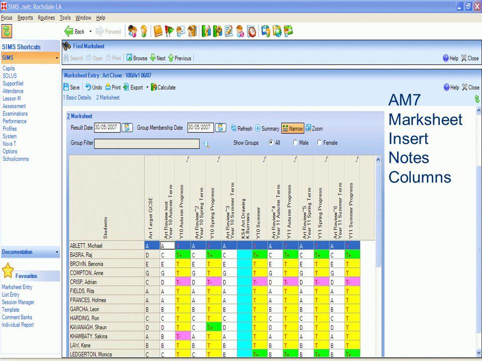 AM7 Marksheet Insert Notes Columns