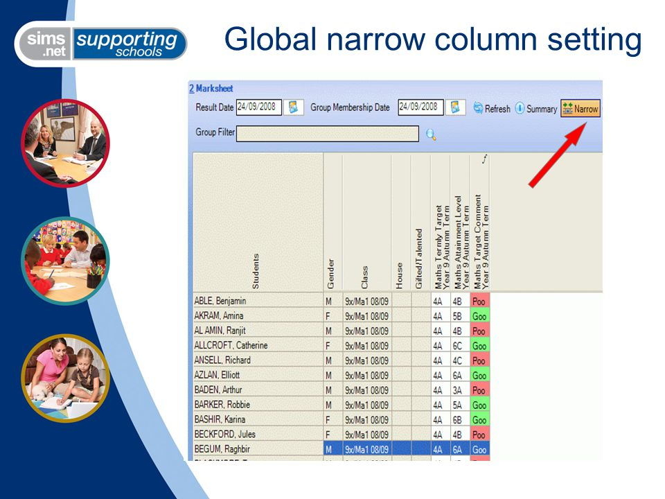Global narrow column setting