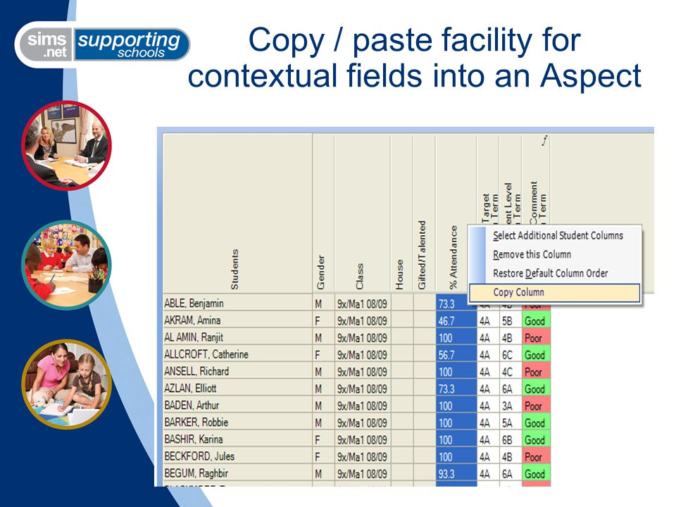 Copy / paste facility for contextual fields into an Aspect