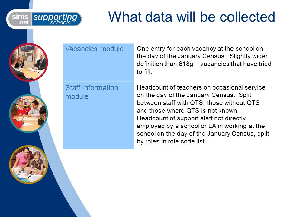 What data will be collected Vacancies module One entry for each vacancy at the school on the day of the January Census.
