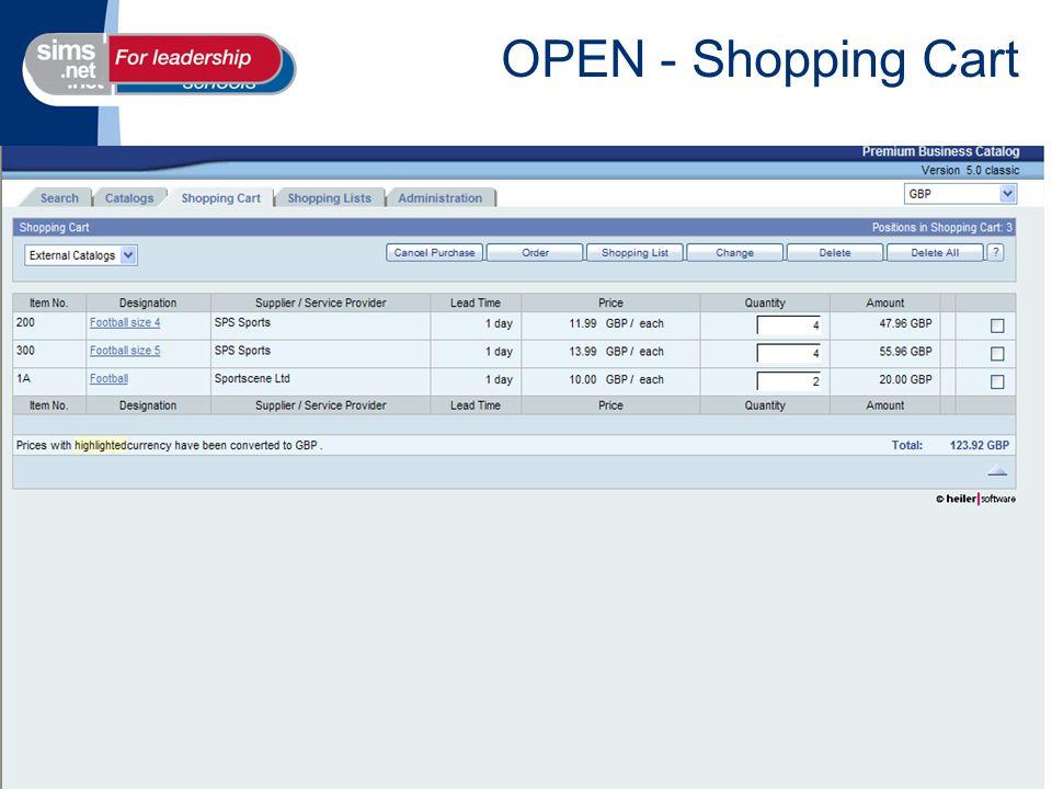 OPEN - Shopping Cart