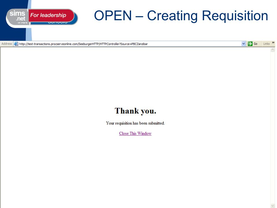 OPEN – Creating Requisition