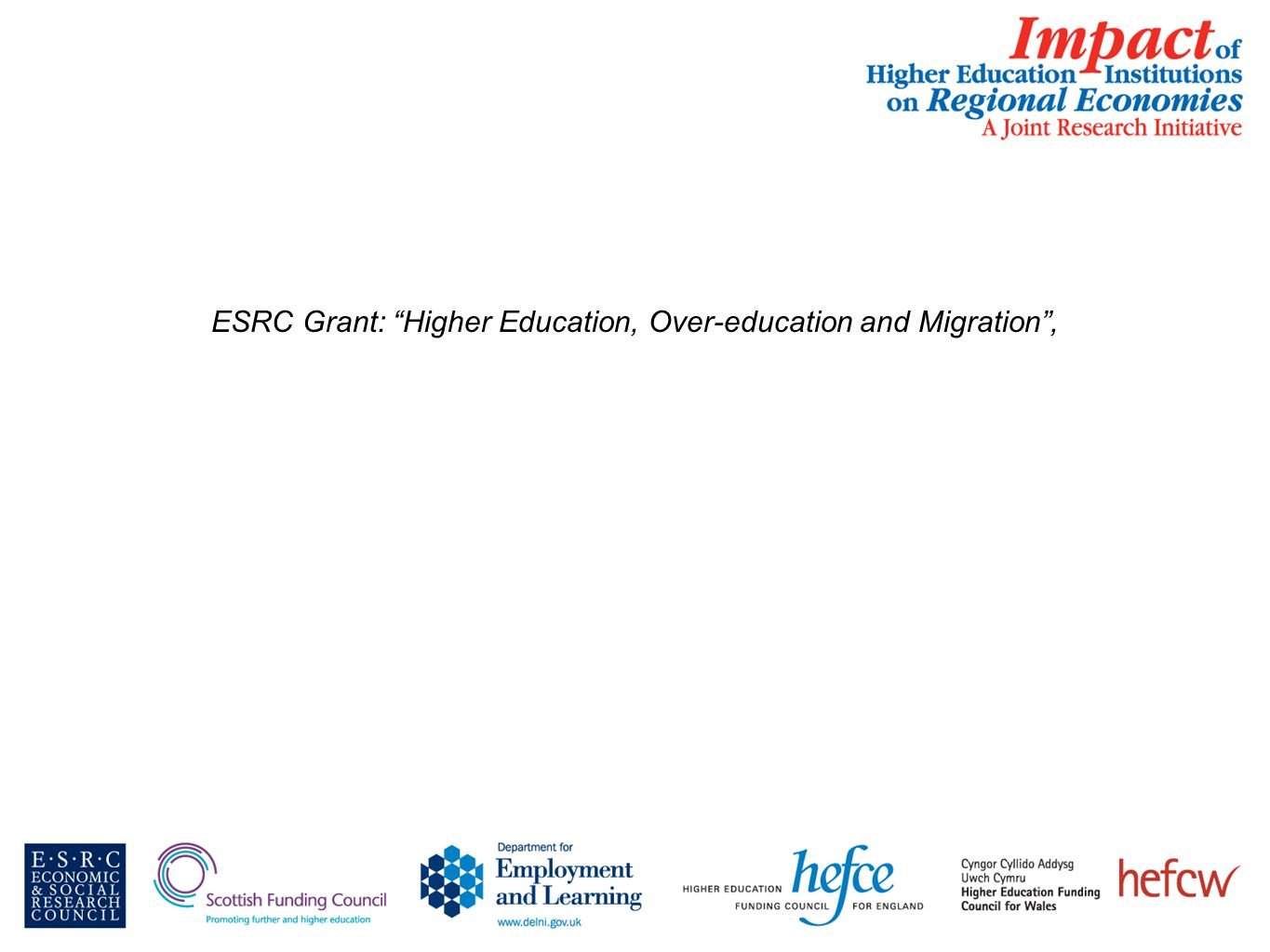 ESRC Grant: Higher Education, Over-education and Migration ,