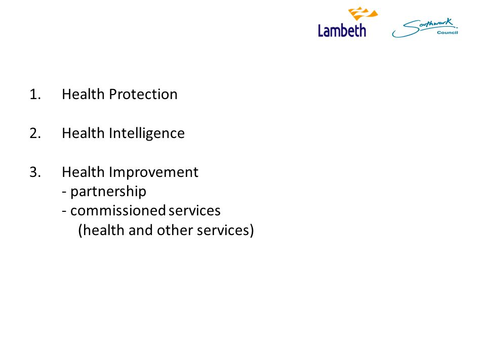 1.Health Protection 2.Health Intelligence 3.Health Improvement - partnership - commissioned services (health and other services)