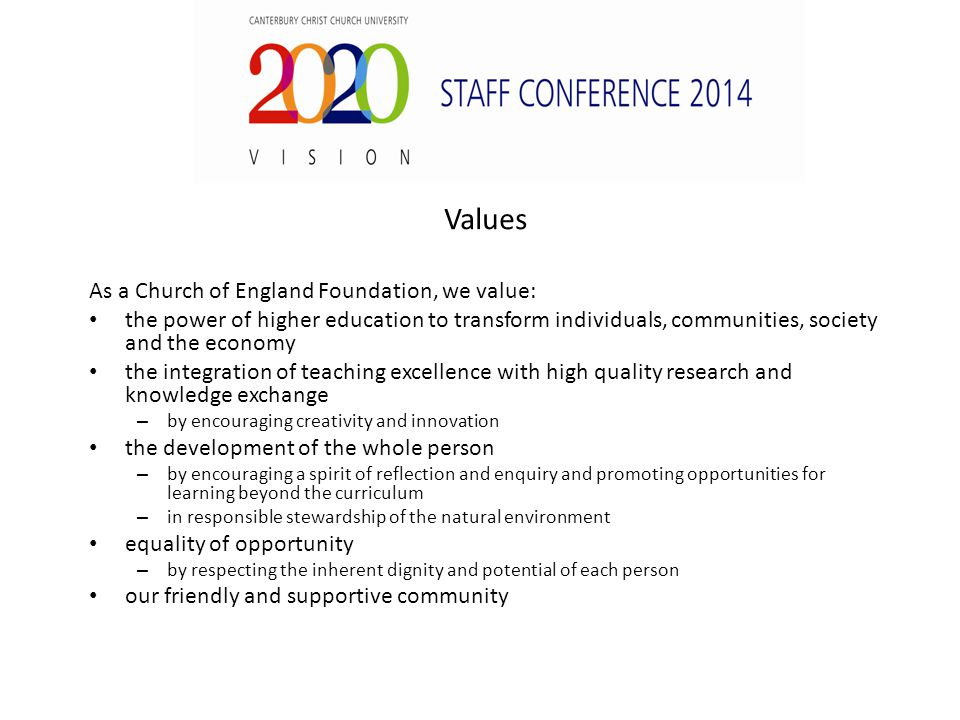 Values As a Church of England Foundation, we value: the power of higher education to transform individuals, communities, society and the economy the integration of teaching excellence with high quality research and knowledge exchange – by encouraging creativity and innovation the development of the whole person – by encouraging a spirit of reflection and enquiry and promoting opportunities for learning beyond the curriculum – in responsible stewardship of the natural environment equality of opportunity – by respecting the inherent dignity and potential of each person our friendly and supportive community