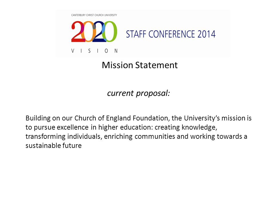 Mission Statement current proposal: Building on our Church of England Foundation, the University's mission is to pursue excellence in higher education: creating knowledge, transforming individuals, enriching communities and working towards a sustainable future