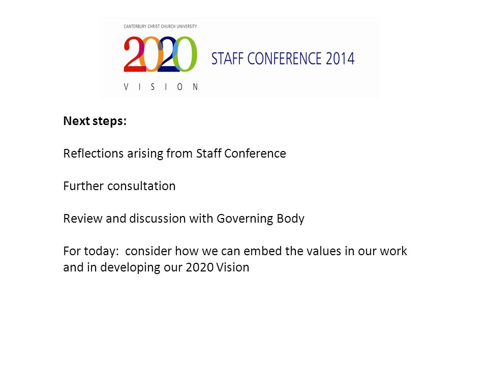 Next steps: Reflections arising from Staff Conference Further consultation Review and discussion with Governing Body For today: consider how we can embed the values in our work and in developing our 2020 Vision