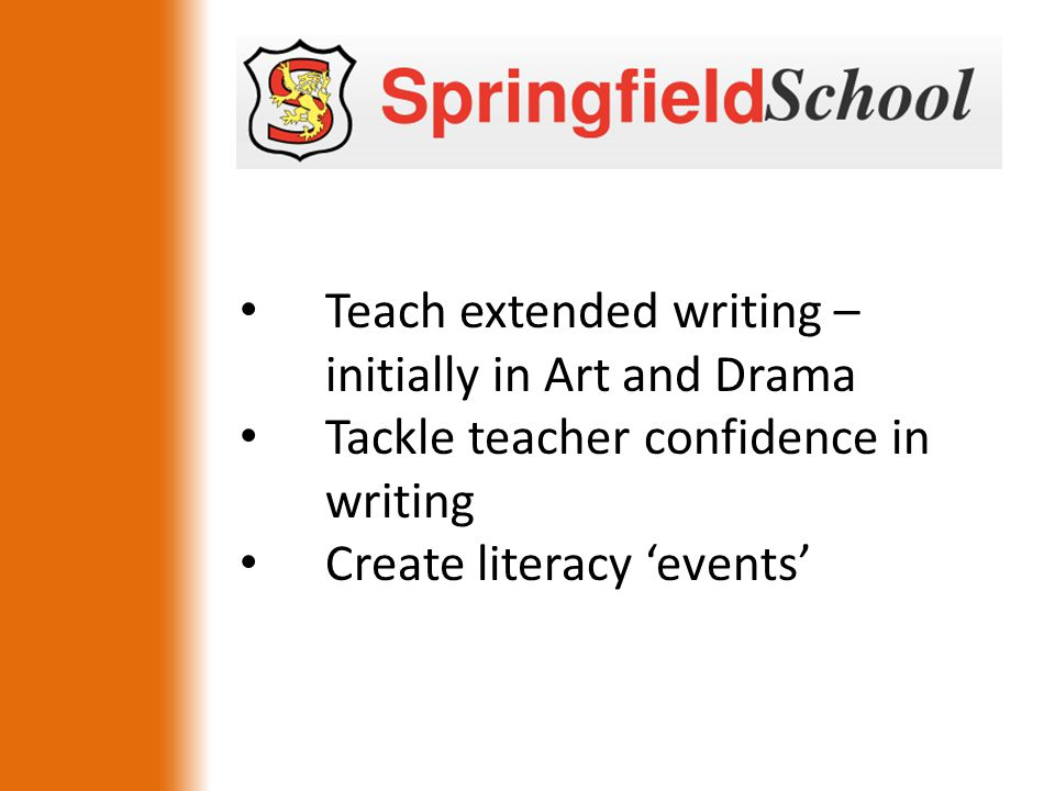 Teach extended writing – initially in Art and Drama Tackle teacher confidence in writing Create literacy 'events'