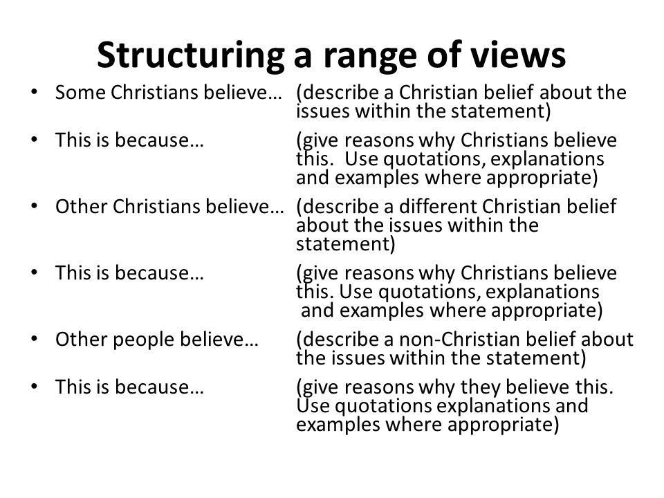 Structuring a range of views Some Christians believe…(describe a Christian belief about the issues within the statement) This is because… (give reasons why Christians believe this.