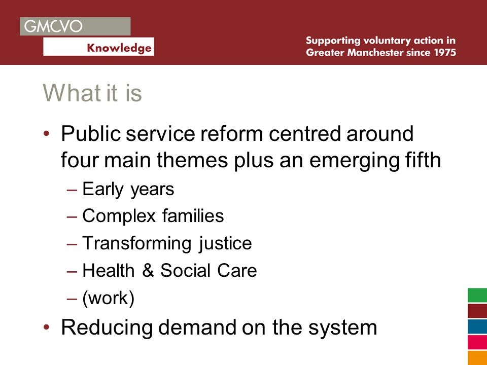 What it is Public service reform centred around four main themes plus an emerging fifth –Early years –Complex families –Transforming justice –Health & Social Care –(work) Reducing demand on the system