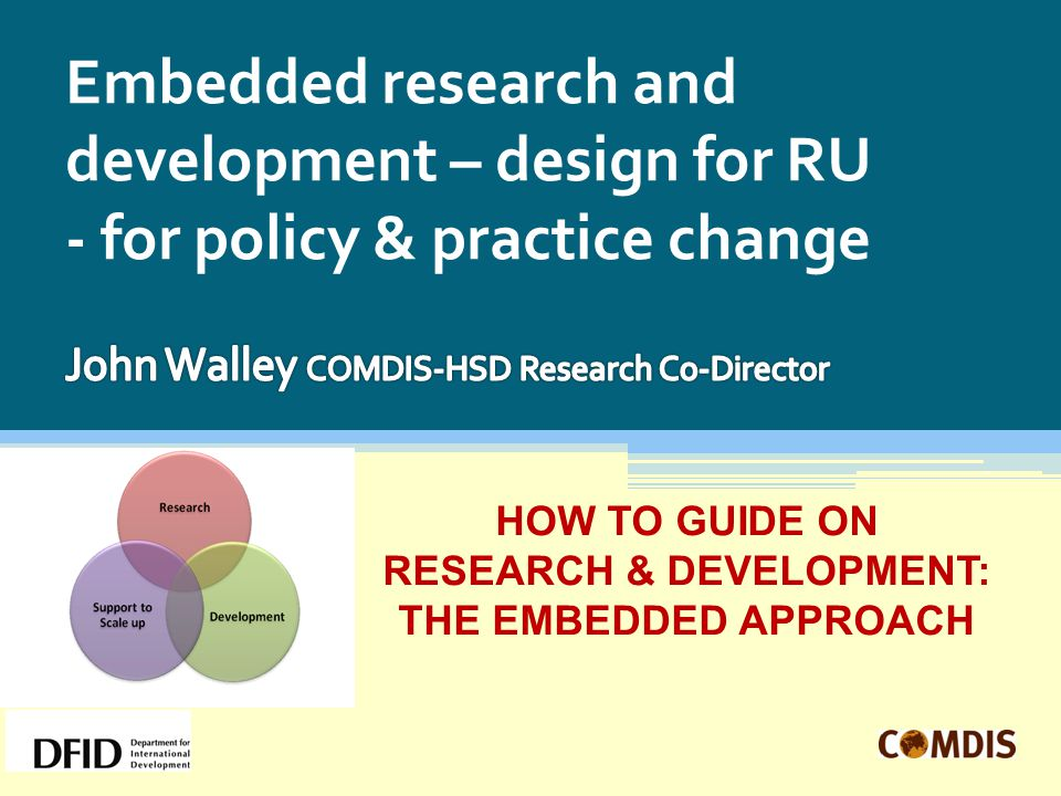 Embedded research and development – design for RU - for policy & practice change HOW TO GUIDE ON RESEARCH & DEVELOPMENT: THE EMBEDDED APPROACH