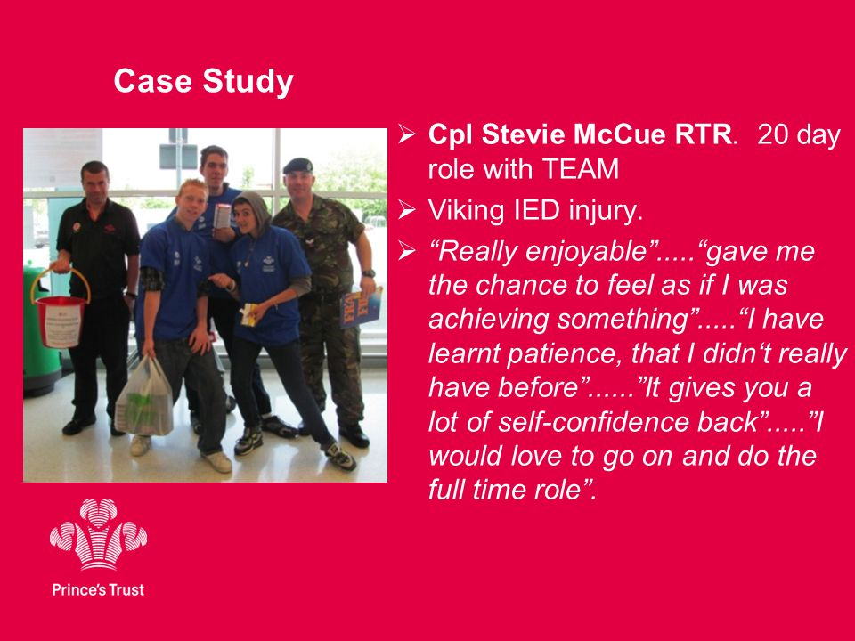 Case Study  Cpl Stevie McCue RTR. 20 day role with TEAM  Viking IED injury.
