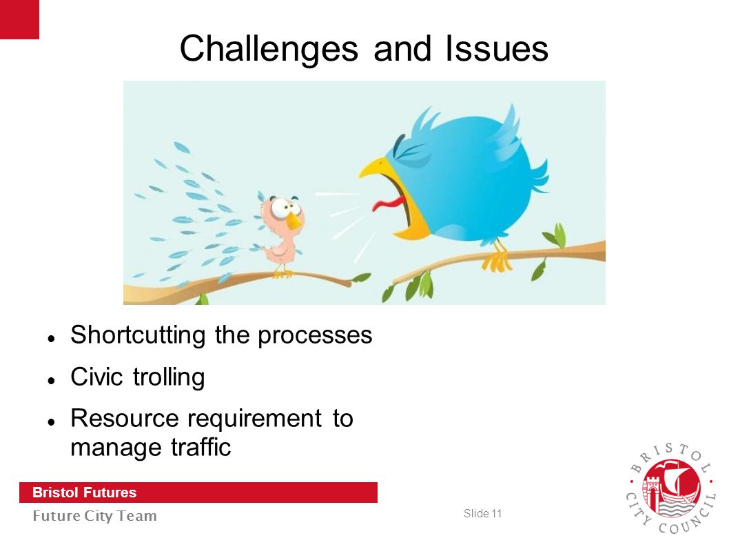 Slide 11 Bristol Futures Future City Team Challenges and Issues Shortcutting the processes Civic trolling Resource requirement to manage traffic