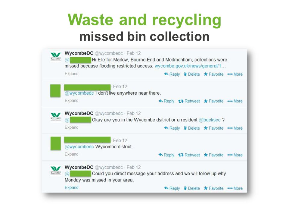 Waste and recycling missed bin collection